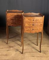 Pair of French Inlaid Tulipwood Bedside Tables (3 of 11)