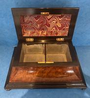 Victorian Burr Cedar & Ebony Shaped Tea Caddy (15 of 20)