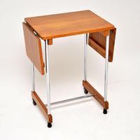 1950's Vintage Oak & Chrome Drop Leaf Side Table