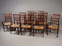 Rare Set of 10 Early 20th Century Ash Spindle Backed Chairs
