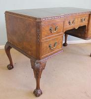 Quality Burr Walnut Kneehole Writing Desk (12 of 15)