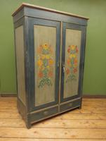 Antique Swedish Style Painted Folk Art Wardrobe Armoire (21 of 22)