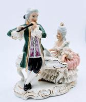 Dresden Germany Porcelain Figurine Musicians Playing Piano & Flute (2 of 9)
