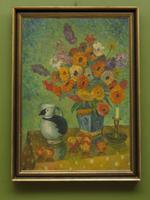 Large Framed Nordic Oil on Canvas Painting of Still Life Flowers & Puffin Jug (2 of 9)