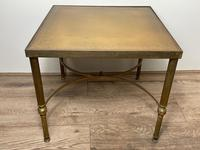 French Brass Square Leather Top Coffee Table (2 of 28)