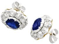 2.10ct Basaltic Sapphire & 3.30ct Diamond, 9ct Yellow Gold Cluster Earrings - Antique c.1890 (3 of 9)