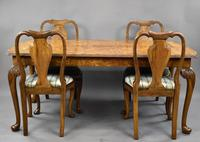 Queen Anne Style Burr Walnut Table & Chairs c.1920 (2 of 22)