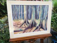 Large Vintage Oil Painting Impressionist-style Woodland Landscape Signed S Chapman c.1960