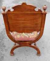 1900's Quality Walnut X Chair with Inlay & Pretty Upholstered Seat (3 of 4)