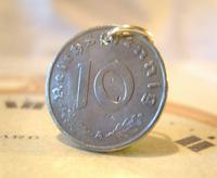 Vintage Pocket Watch Chain Fob 1944 WW2 German Reich 10 Pfennig Eagle Coin Fob (2 of 4)