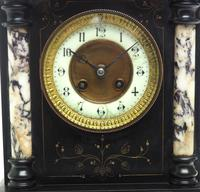 Very Fine French Slate & Marble Mantel Clock 8 Day Striking Mantle Clock (8 of 10)