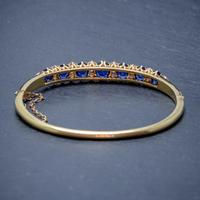 Antique Victorian Sapphire Diamond Bangle 18ct Gold 5.46ct Of Natural Sapphire With Cert (2 of 7)
