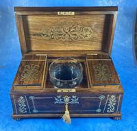 Regency Rosewood Brass Foliate Inlaid Tea Caddy (10 of 15)