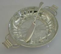 Art Deco English Solid Sterling Silver & Glass Butter Dish 1936 / 37 (5 of 12)