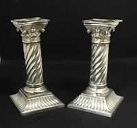 Pair of Silver Plated Late Victorian Barley Twist Corinthian Column Candlesticks (2 of 7)