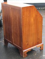 1960's Quality Burr Walnut Bureaux with Nice Inlay + Key (4 of 6)