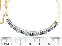 3.50 ct Sapphire and 1.30 ct Diamond, 18 ct Yellow Gold Bangle - Antique French Circa 1890 (3 of 9)