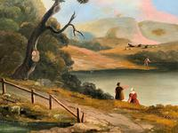 Large Stunning 19thc Arcadian Landscape Oil Painting in the 18th Century manner (4 of 13)