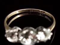 Antique Three Stone Paste Ring, 18ct Gold & Silver (9 of 11)