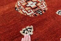 Antique Tibetan small carpet 229x121cm (6 of 6)