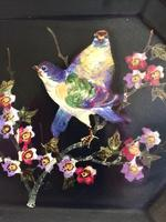 Bretby Art Pottery Black Cloisonne Ware Tray With Painted Birds & Blossom (2 of 9)