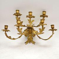 Pair of Antique Gilt Bronze Wall Sconce Candelabra (5 of 9)