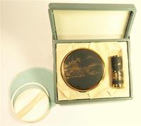 1950s Japanese Vanity Set With Original Lipstick Holder And Compact Mirror Unused (3 of 8)