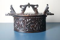 Scandinavian / Norwegian 'Folk Art' Baroque / Acanthus carved tine box c.1885