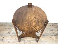 Early 20th Century Antique Oak Circular Side Table with shelf (4 of 9)