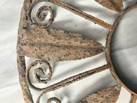 Pair of Rusted Antique 19th Century Spanish Wrought Iron Wall Roundels Sculptures (7 of 12)