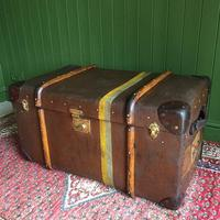 Steamer Trunk 1930s Art Deco Bentwood Travel Chest Coffee Table Storage (4 of 10)