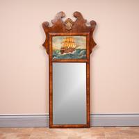 Walnut Mirror with Nautical Painted Scene