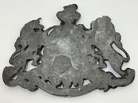 Antique Victorian Lead British Royal Coat Arms Plaque (6 of 12)