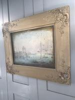 Antique Georgian or Early Victorian Landscape Oil Painting of Boats in Harbour by John Wilson Ewbank 2 of 2 (8 of 10)