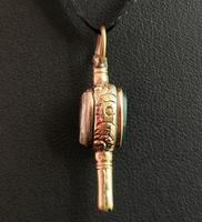 Antique Georgian Gold Heart Watch Key, Citrine & Bloodstone (5 of 9)