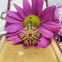 Antique Victorian 15ct Gold Pink Sapphire & Pearl Floral Star Pendant Brooch (6 of 7)