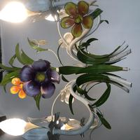 Vintage French 5 Arm Floral Toleware Chandelier (7 of 11)