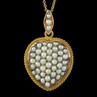 Antique Victorian Natural Pearl Heart Pendant Necklace 18ct Gold Circa 1880 (7 of 7)