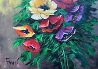 British School Vintage Mid-Century Still Life Floral Study Oil Painting (3 of 12)