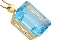 31.47ct Aquamarine & 14ct Yellow Gold Pendant - Vintage c.1950 (8 of 9)