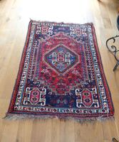 Vintage Persian Handmade Rug with a Vibrant Red & Blue Ground (5 of 8)