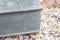Scandinavian / Swedish 'Folk Art' original paint green/blue large table/alms/bible box raised on feet 1852 (15 of 36)