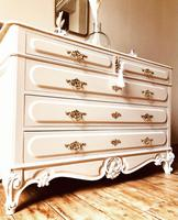 Antique Style Chest of Drawers with Marble Gallery / Grey Drawers (2 of 7)