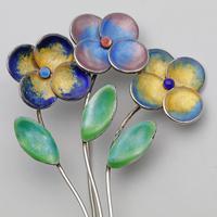 Bernard Instone Silver & Enamel Flower Brooch (2 of 3)