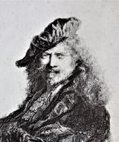 After Rembrandt, copy of portrait, etching, late 18th century, in period frame (4 of 6)