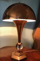Rare 1930s French Art Deco Mushroom Copper & Crystal Table or Desk Lamp