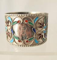 Pretty Imperial Russian Silver & Cloisonné Napkin Ring Moscow c.1890 (5 of 6)