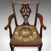 Antique Carver Chair, English, Mahogany, Needlepoint, Elbow, Chippendale Style (2 of 12)