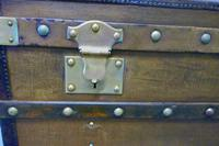Large Tan Canvas, Wood, Leather & Brass Bound Steamer Trunk (7 of 9)