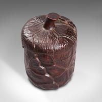 Small Antique Lidded Pot, Oriental, Chinese Elm, Carved Treen, Victorian, C.1900 (7 of 12)